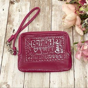 Poppy Coach Pink Patent Leather Wristlet Wallet